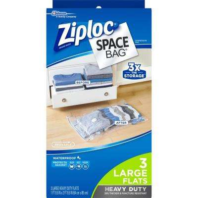 Large Plastic Heavy-Duty Flat Space Bag, 2-3/pack