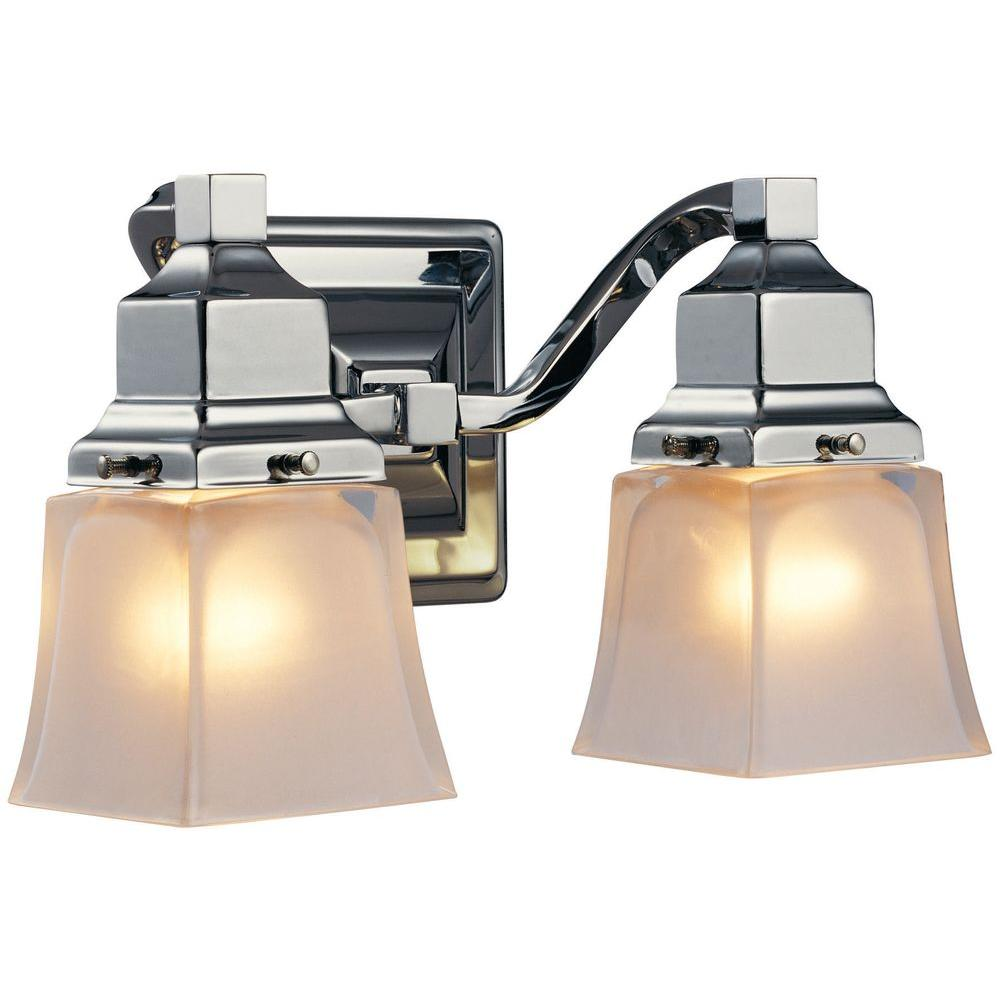 Hampton Bay 2-Light Chrome Vanity Light with Etched Glass Shades ...