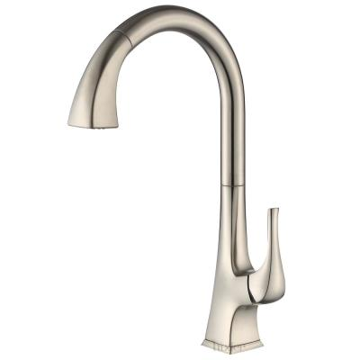 Single-Handle Pull-Down Sprayer Kitchen Faucet with 2-Function Spray Head in Brushed Nickel