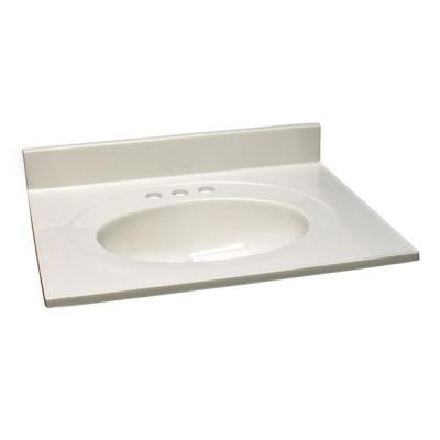 25 in. W x 22 in. D Cultured Marble Vanity Top in White with Solid White Bowl
