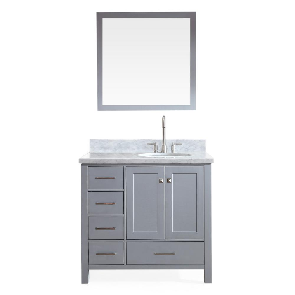 Ariel Cambridge 37 in. Bath Vanity in Grey with Marble Vanity Top in Carrara White with White Basin and Mirror
