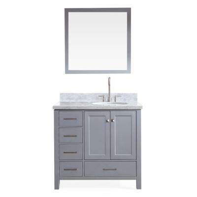Cambridge 37 in. Bath Vanity in Grey with Marble Vanity Top in Carrara White with White Basin and Mirror
