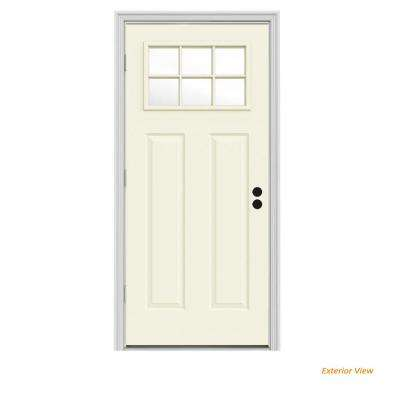32 in. x 80 in. 6 Lite Craftsman Vanilla Painted Steel Prehung Right-Hand Outswing Front Door w/Brickmould