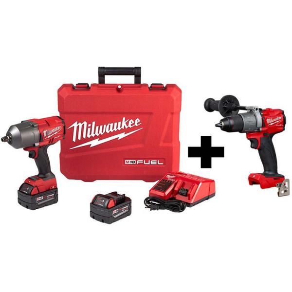 M18 FUEL 18-Volt Lithium-Ion Brushless Cordless 1/2 in. Impact Wrench with Friction Ring Kit with Free FUEL Hammer Drill