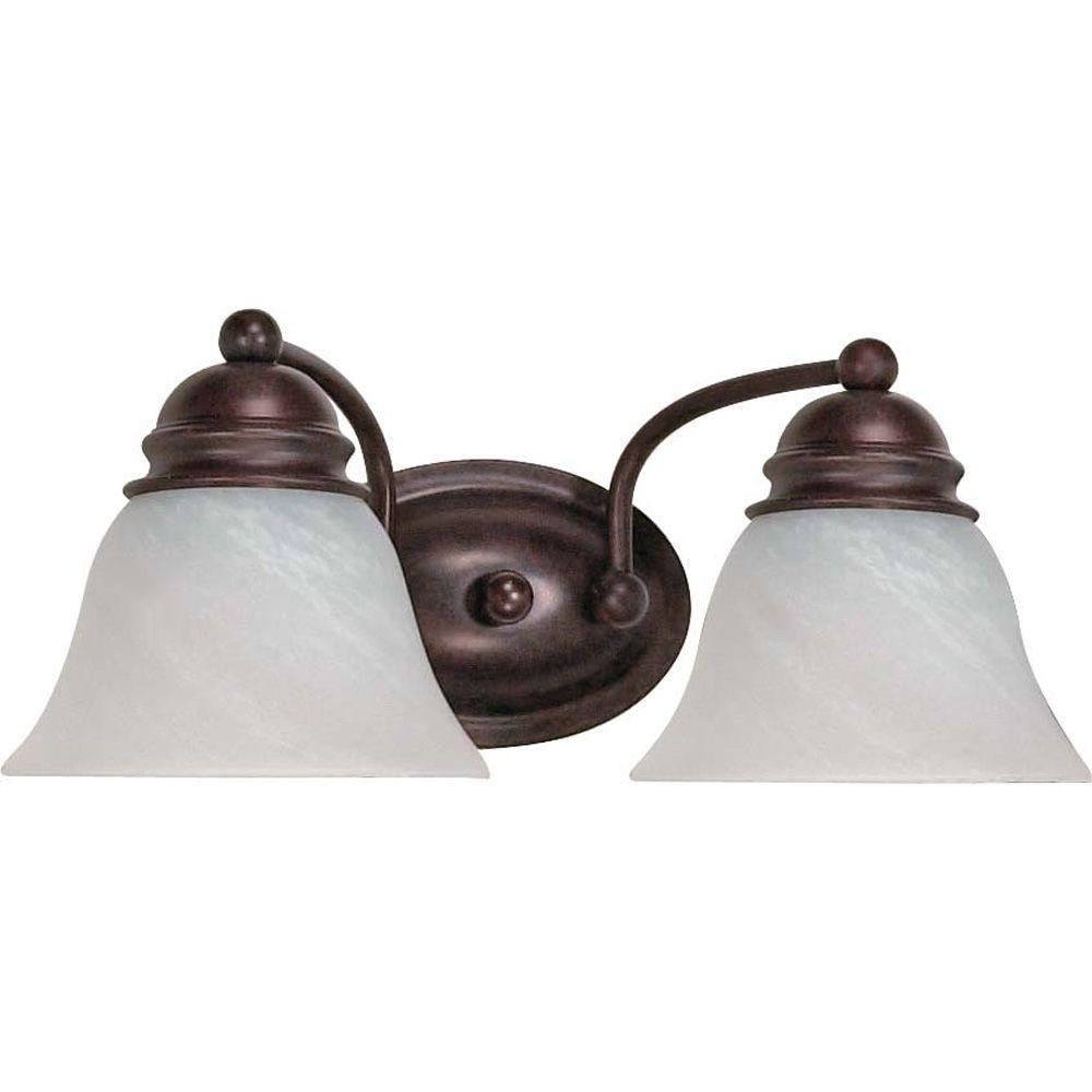 Nuwa 2-Light Old Bronze Bath Vanity Light with Alabaster Glass
