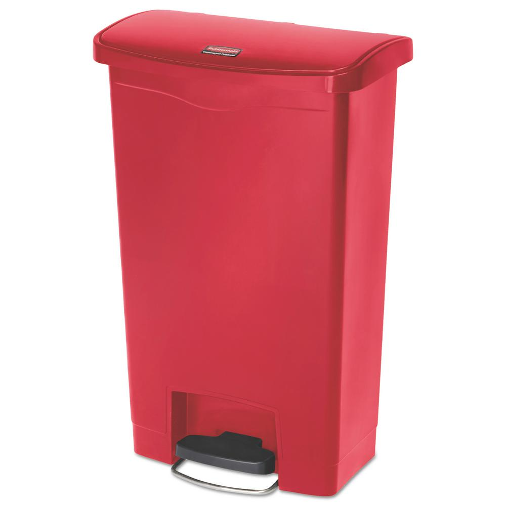 Rubbermaid Commercial Products Slim Jim Step-On 13 Gal. Red Plastic End  Step Trash Can