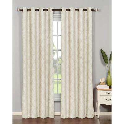 Semi-Opaque Newbury Lattice 84 in. L Room Darkening Grommet Curtain Panel Pair, Ivory (Set of 2)