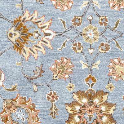 Valintino Blue Floral Hand Tufted Wool 8 ft. x 10 ft. Area Rug