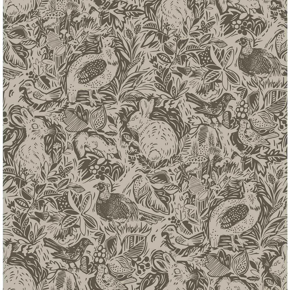 Revival Brown Fauna Wallpaper