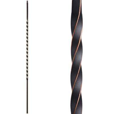 Twist and Basket 44 in. x 0.5 in. Oil Rubbed Copper Long Single Twist Hollow Wrought Iron Baluster