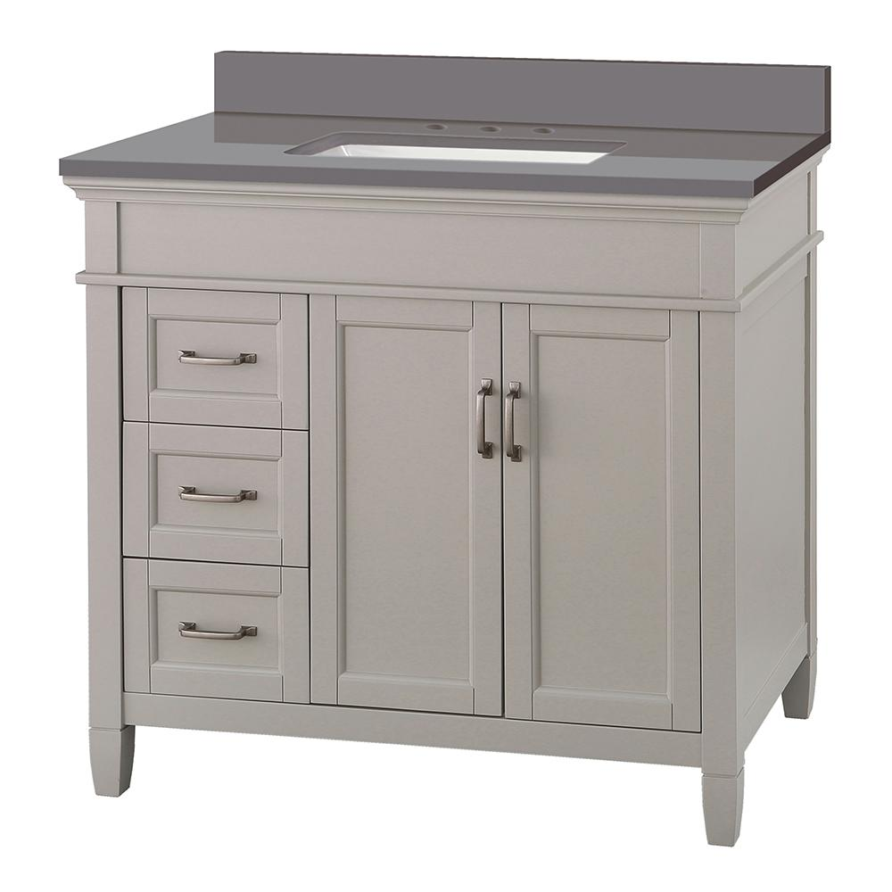 Foremost Ashburn 37 in. W x 22 in. D Vanity Cabinet in Grey with Engineered Marble Vanity Top in Slate Grey with White Basin