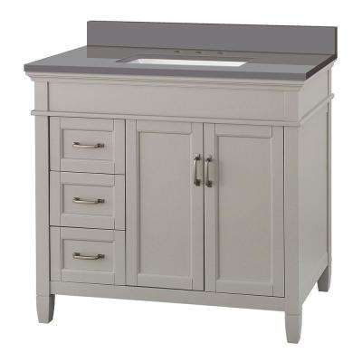 Ashburn 37 in. W x 22 in. D Vanity Cabinet in Grey with Engineered Marble Vanity Top in Slate Grey with White Basin