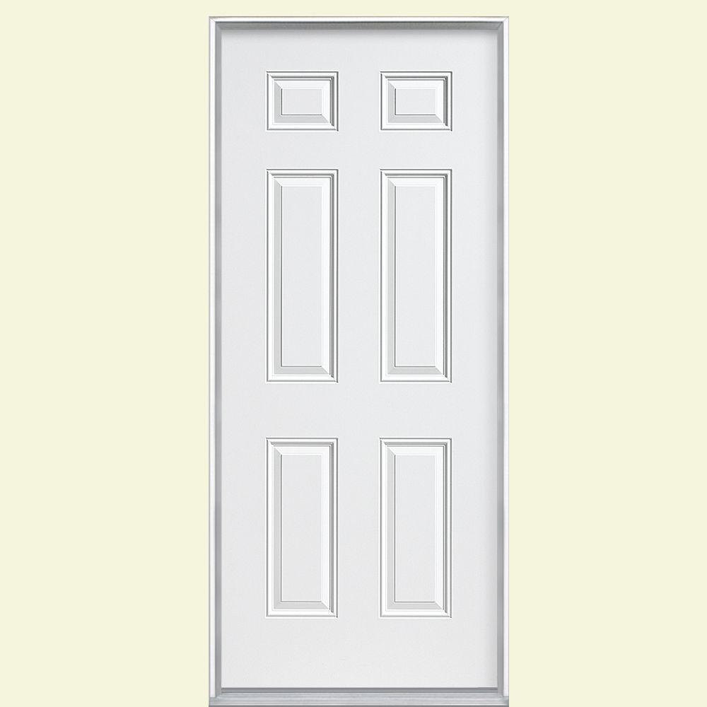 6panel primed steel prehung front door with no brickmold