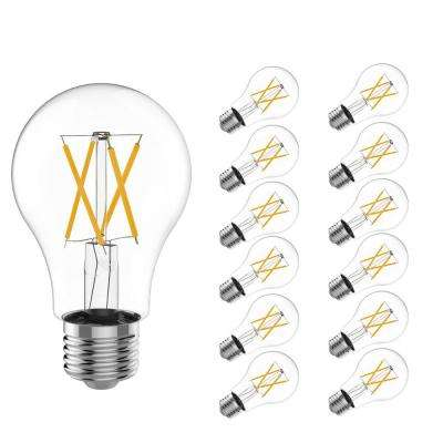 60-Watt Equivalent A19 Dimmable ENERGY STAR Clear Filament Vintage Style E26 LED Light Bulb Warm White (12-Pack)