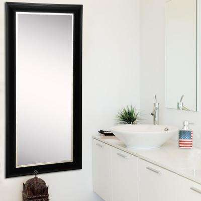 22 in. x 61 in. Grand Black and Aged Silver Rounded Beveled Slender Floor Body Mirror