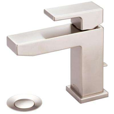 Mod Single Hole Single-Handle Bathroom Faucet in Brushed Nickel with Drain Assembly