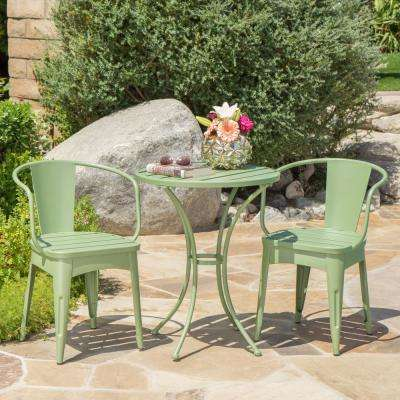 Matte Green 3-Piece Metal Round Outdoor Bistro Set