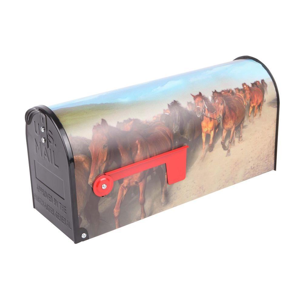 Post Mount Wild Horses Mailbox