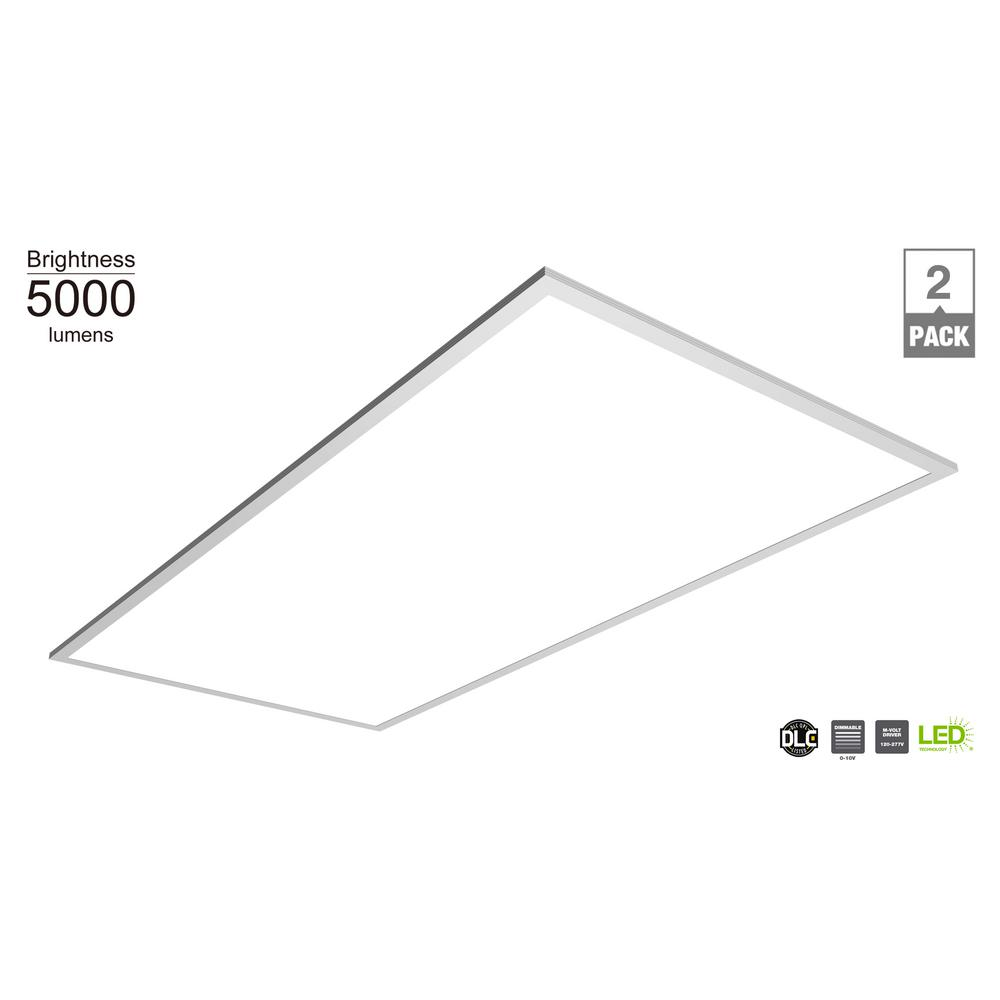 Commercial Electric 5000 Lumen 2ft x 4ft White LED Flat Panel Troffer (2-Pack)