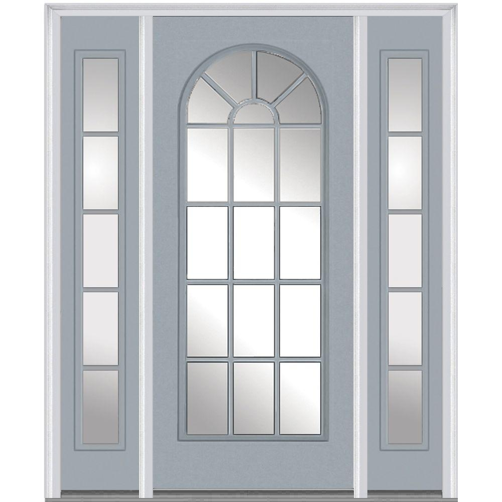 Mmi door 64 in x 80 in clear right hand full lite round for Prehung exterior doors with storm door