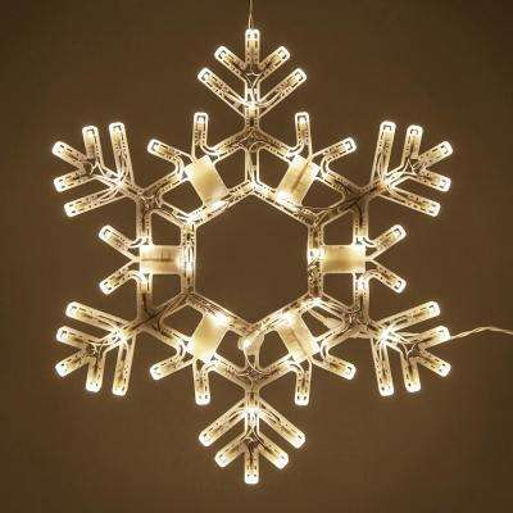 20 in. 70-Light LED Warm White Folding Snowflake Decoration