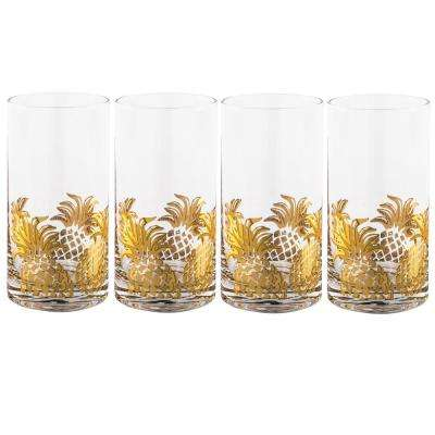 Gold Pineapple Highball Glasses (Set of 4)