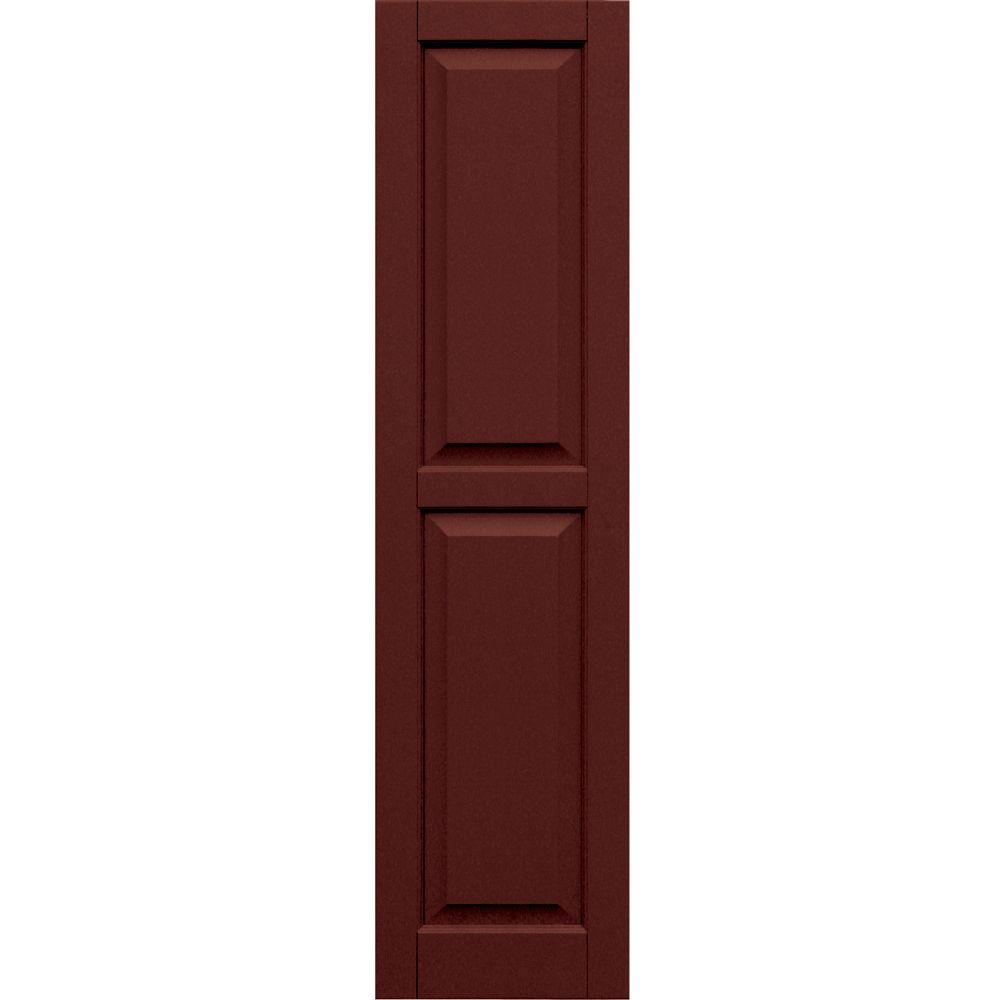 Winworks Wood Composite 15 in. x 59 in. Raised Panel Shutters Pair #650 Board and Batten Red