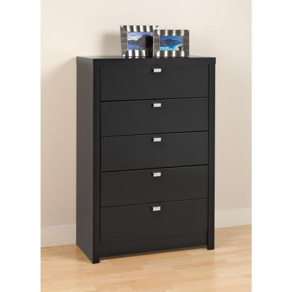 Prepac Series 9 5-Drawer Black Chest BDBR-0550-1