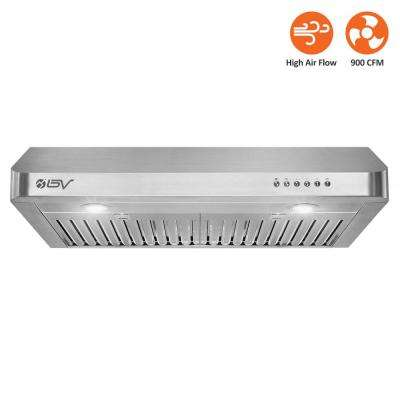 30 in. 750 CFM Under Cabinet Range Hood with Baffle Filters, LED Lights and Push Buttons in Seamless Stainless Steel