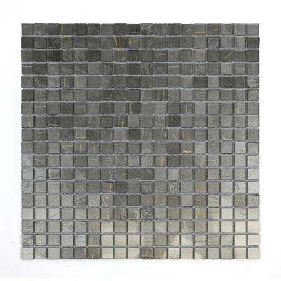 Micro Folia Silver Mound Light Grey 11-3/4 in. x 11-3/4 in. x 3.2 mm Glass Mosaic Tile (9.59 sq. ft. / case)