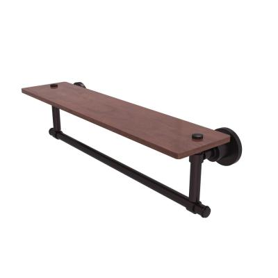 Washington Square Collection 22 in. Solid IPE Ironwood Shelf with Integrated Towel Bar in Antique Bronze
