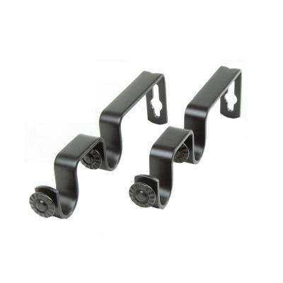 Double Rod Wall Bracket in Black (Set of 2)