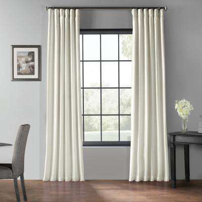 Off White Blackout Vintage Textured Faux Dupioni Curtain - 50 in. W x 96 in. L