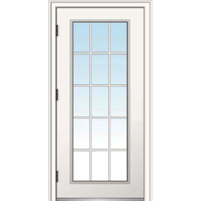 32 in. x 80 in. Classic Right-Hand Outswing 15 Lite Clear Low-E Primed Steel Prehung Front Door with Brickmould