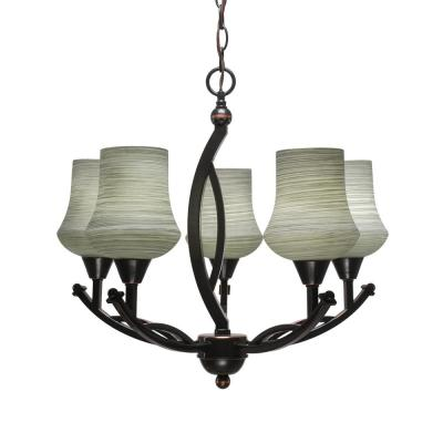5-Light Black Copper Chandelier with 5.5 in. Zilo Gray Linen Glass