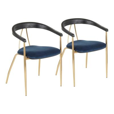 Vanessa Gold and Blue Velvet Dining Chair with Black Wood Accent (Set of 2)