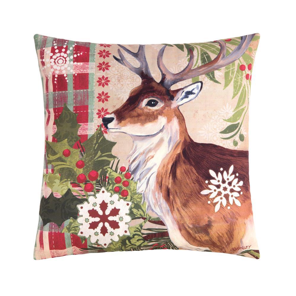 Winter Reindeer Indoor/Outdoor Brown Standard Pillow