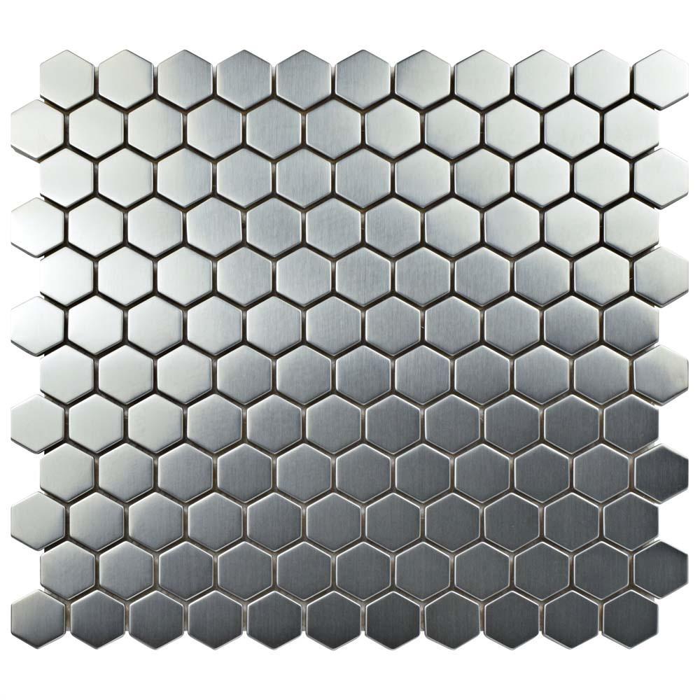 Meta Hex 11-1/4 in. x 11-1/4 in. x 8 mm Stainless Steel Metal Over Ceramic Mosaic Tile