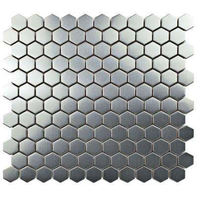 Meta Hex 11-1/4 in. x 11-1/4 in. x 8 mm Stainless Steel Metal Over Ceramic Mosaic Tile