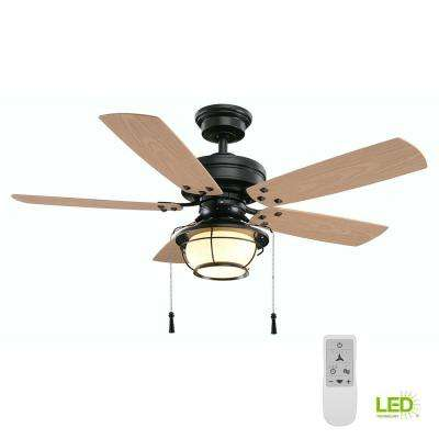 North Shoreline 46 in. Natural Iron LED Smart Ceiling Fan with Light and Remote Works with Google Assistant and Alexa