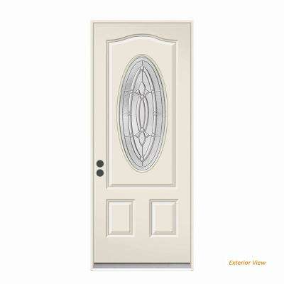 36 in. x 80 in. 3/4 Oval Lite Blakely Primed Steel Prehung Right-Hand Inswing Front Door