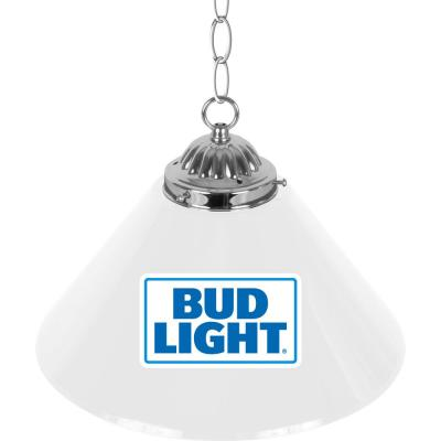 Bud Light 14 in. Single Shade Blue and Silver Hanging Lamp