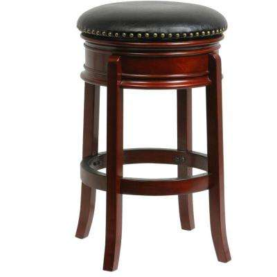 Hamilton 29 in. Cherry Swivel Cushioned Bar Stool