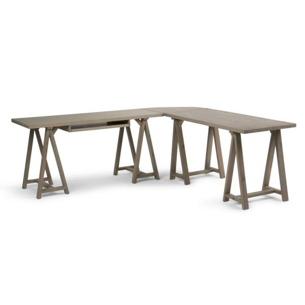 Sawhorse Solid Wood Modern 84 In Wide L Shape Corner Desk Distressed Grey By Simpli Home