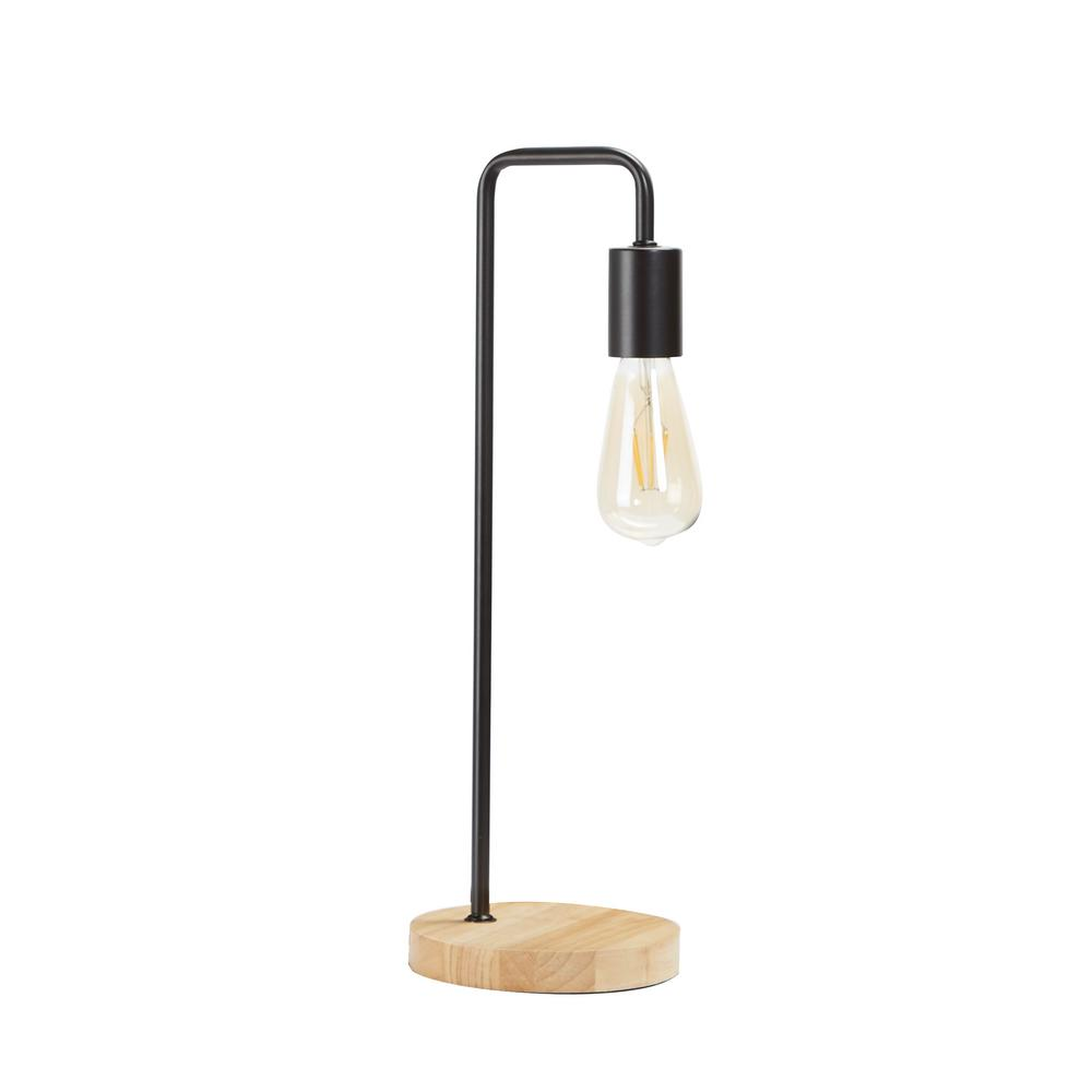 Silverwood Furniture Reimagined Ryker 20 In Black Metal Exposed Bulb Table Lamp With Shade