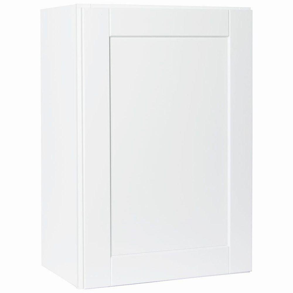Shaker Assembled 21x30x12 in. Wall Kitchen Cabinet in Satin White