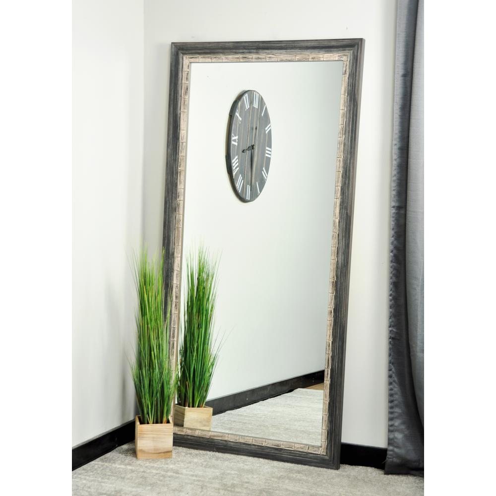 32 in. x 66 in. Weathered Harbor Floor Framed Mirror