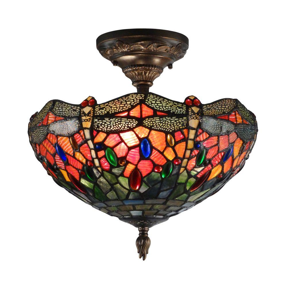 Sonota 3-Light Dark Antique Brass Semi-Flush Mount Light with Art Glass
