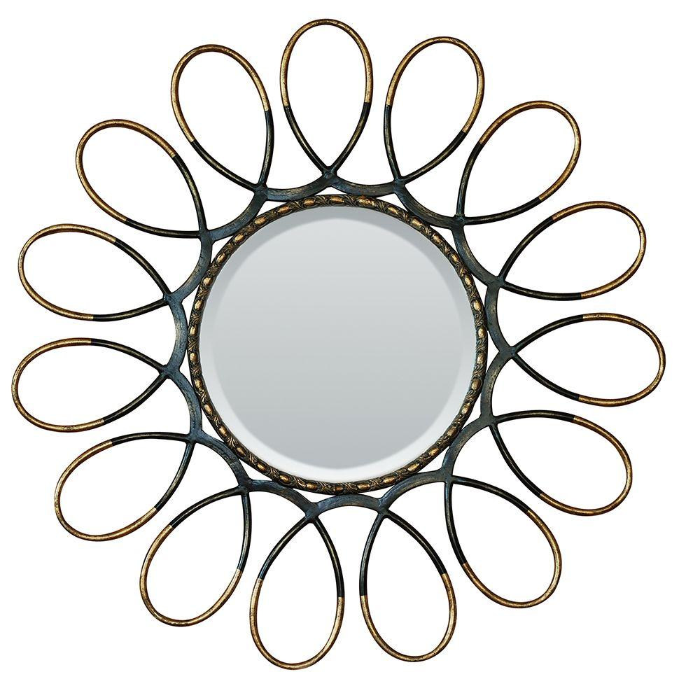 Yosemite Home Decor 41 in. x 41 in. Round Outer-Looped Iron Decorative Matte Black Framed Mirror