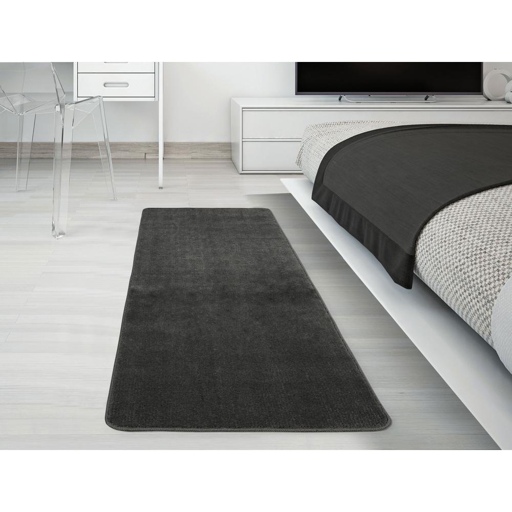 Ottomanson Solid Design Gray 2 Ft 2 In X 6 Ft Non Slip Bathroom